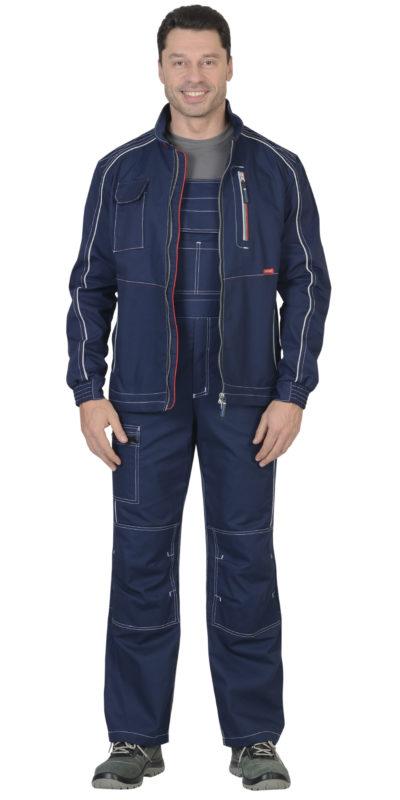 Костюм мужской рабочий летний с полукомбинезоном 0046 синий/серый
