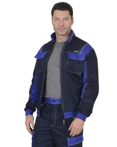 Куртка рабочая летняя мужская 017 синяя/голубая