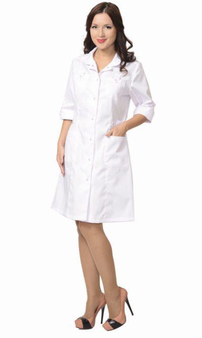Халат медицинский женский белый «Глэм»