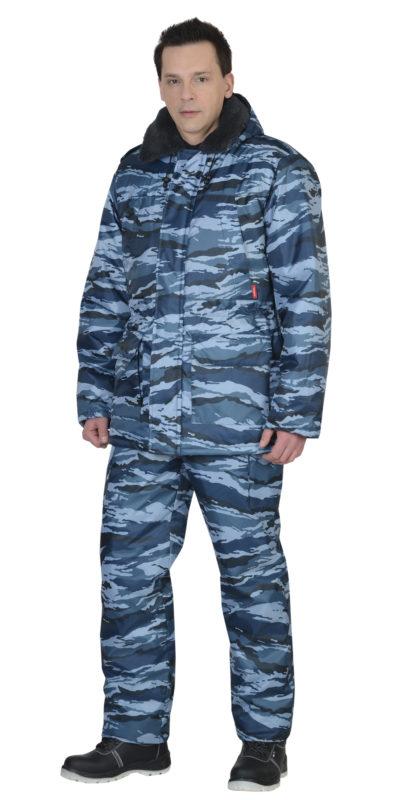 Костюм охранника зимник камуфляж голубой 02-51