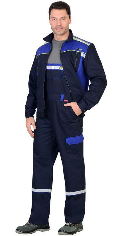 Костюм мужской летний с полукомбинезоном рабочий синий/черный