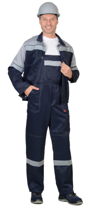 Костюм мужской рабочий летний с полукомбинезоном 0032 черный/серый