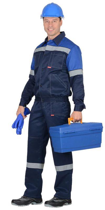 Костюм мужской рабочий летний с полукомбинезоном 495 синий/васильковый