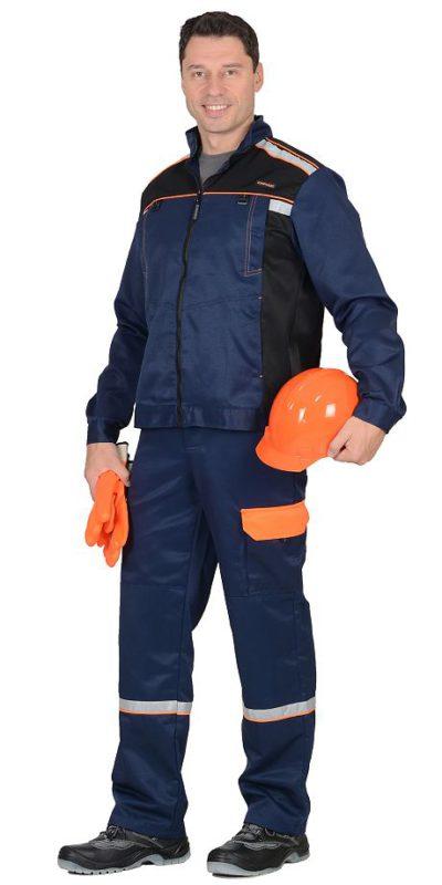 Костюм мужской рабочий летний с полукомбинезоном 789 темно-синий