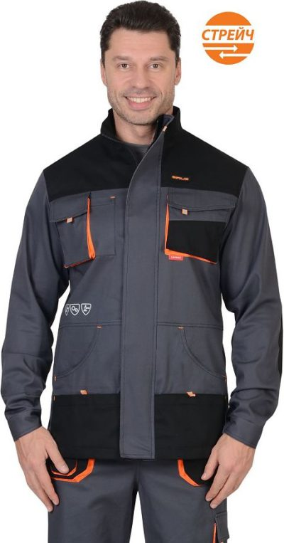 Куртка рабочая летняя мужская 0378 серый/черный