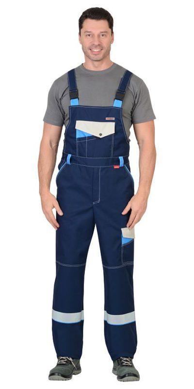 Костюм мужской рабочий летний с полукомбинезоном 2312 синий/васильковый