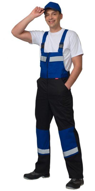 Костюм мужской рабочий летний с полукомбинезоном 0033 синий/черный