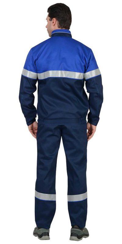 Костюм мужской рабочий летний с полукомбинезоном 542 синий/васильковый