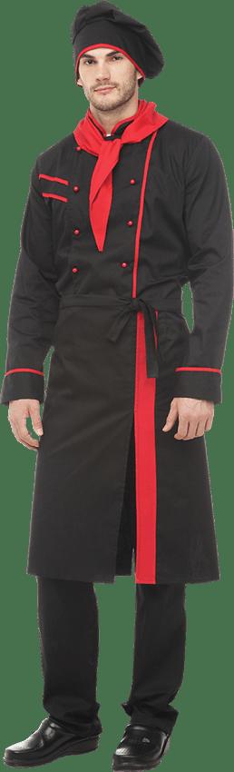 Костюм шеф-повар черно-красный