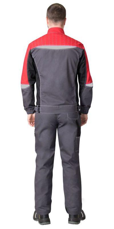 Костюм мужской рабочий летний с полукомбинезоном 1126 серый/красный