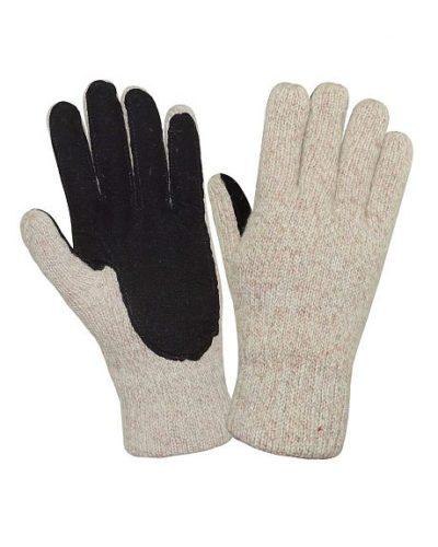 Перчатки шерстяные со спилковой накладкой